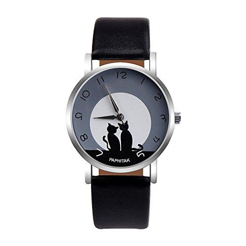 Suitray Uhren Damen Leder, Katzen Gedruckt Frauen Armbanduhr Analoge Quarzuhr Freizeit Uhr Geschenk,Runde Zifferblattgehäuse Lederband Uhren