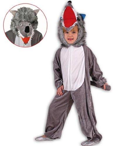 Kind Für Kostüm Wolf - Kinder Kostüm Overall Wolf Velours in 3 Größen (104)