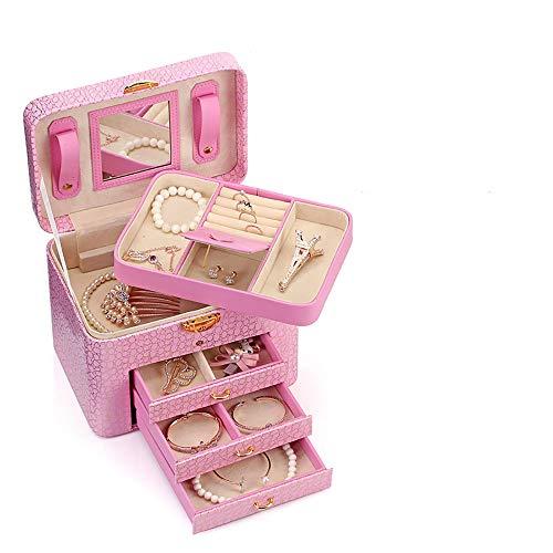 k Aufbewahrung Schmuck Ring Display Organizer Womens Travel Jewelry Box Mädchen Schmuck Organizer gespiegelt Mini Case abschließbar schwarz Passend für Geburtstag ()