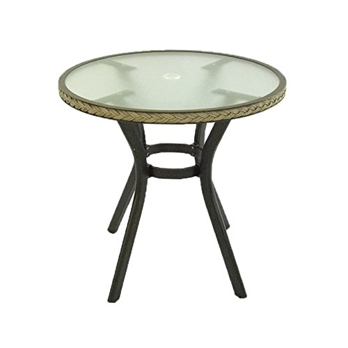 Mesa de jardín Redonda de 72 cm de diámetro y 72 cm de Altura | Estructura de Aluminio Color Negro y Trenzado en Fibra sintética Color Natural | Portes Gratis