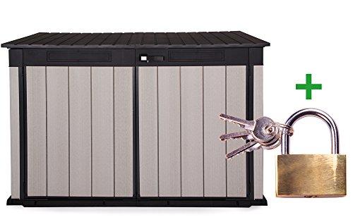 Keter Grande Store XXL Gartenbox Gerätebox abschließbar Mülltonnenbox für 3 Mülltonnen oder Fahrräder 2020 Liter inklusive Vorhängeschloss