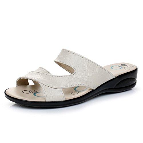 Leder sommer sandalen/Flache rutschfeste weiche bodenabnutzungssandalen C