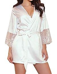 Frauen lange Seide Kimono Morgenmantel Bademantel Babydoll Dessous Nachthe CBL