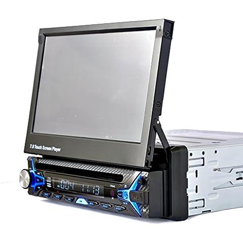 Lacaca Pantalla táctil LCD de 7 pulgadas para el salpicadero del coche, para estéreo, reproductor de CD/DVD, soporte USB/SD/FM, Bluetooth, manos libres, TV analógica con mando a distancia, cámara