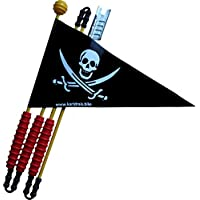 Karl Drais Piraten Sicherheitswimpel aus reißfester Heavy Duty LKW Plane | 160 cm | Fahrrad Wimpel | Jungen Fahrradwimpel Piratenfahne (Fahrradfahne)