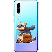 Oihxse Funda Huawei Enjoy 8 Plus/Y9 2018, Ultra Delgado Transparente TPU Silicona Case Suave Claro Elegante Creativa Patrón Bumper Carcasa Anti-Arañazos Anti-Choque Protección Caso Cover (A2)