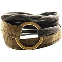 breites Armband braun - Wickelarmband onesize - Stoffarmband zum Wickeln - Handmade - mit bronzefarbenem Ring