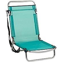 Alco-660ALF-0030 Silla Playa Aluminio, Fibreline, Posiciones Color Azul Verdoso 67x52x11