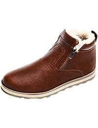XINANTIME - Zapatos de hombre Botas calientes de invierno para hombres Zapatos casuales Botas de nieve de moda de felpa (44, Marrón)