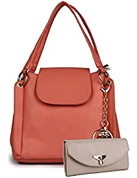 Classic Fashion Peach Color Pu For Womans Hand Held Bag With Sling Bag (cfs0177)