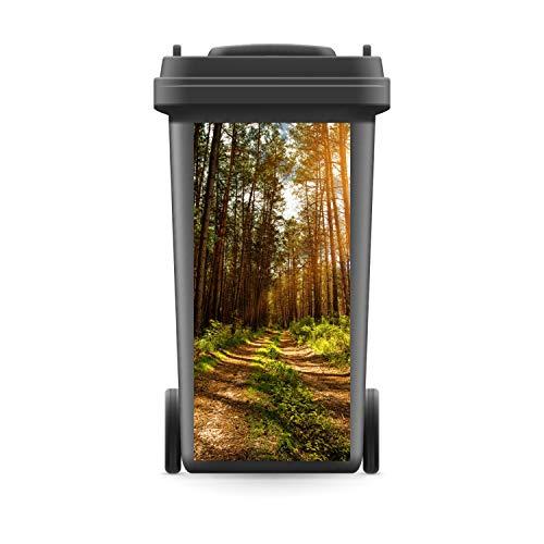 *WERBEPUNKT. Mülltonnenaufkleber Mülltonne Mülleimer Abfalltonne Sticker Waldweg Wald Bäume – 720 x 320 mm*