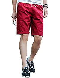 LITTHING Men Casual Solid Color Cotton Shorts Mans Joggers Leisure Breathable Summer Beach Pants