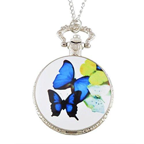 ShopyStore Style1 Funique Silver Plated Fashion Enamel Quartz Pocket Watch For Women Pocket Amp; F