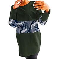 VJGOAL Mujer otoño Moda Casual Estampado Floral y Camuflaje Tops Largos Sueltos Camisetas de Manga Larga