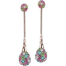 NEOGLORY Pendientes Largos Bolitas de Colores con Cristales Checos Hipoalergénico Joya Original Regalo Mujer Chica