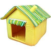 YWJHY Perro Gato Casa Pequeña Cama para Mascotas Resistente a la Suciedad Regalo Desmontable Moda,Amarillo,L
