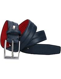 Cinturón hombre SERGIO TACCHINI azul con pespuntes laterales VR1370