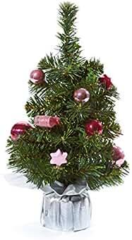 Weihnachtsdeko Glitzer Tannenbaum in Silber//Rosa 22 cm