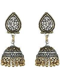 Waama Jewels Navratri Special Jewellery Earrings Rajasthani Designer Earring Oxidised Silver/Gold Jhumka/Jhumki...