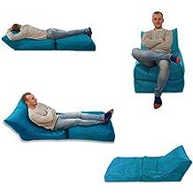 MaxiBean Puf Cama Silla Azul Turquesa Uso en Exterior e Interior tamaño Extra Grande para Videojuegos