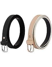SIDEWOK Combo of Plain Casual Sleek Belts For Women/Girls