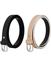 SIDEWOK Combo of Plain Casual Sleek Belts For Women/Girls
