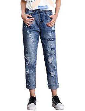Anguang Mujer Suelto Ajuste Novio Jegging Pantalones Arrancado Roto Mezclilla Pantalones