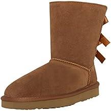 7ba9f6aac3f7 SKUTARI Wildleder Damen Frauen Winter-Boots   Warm Gefüttert   Schlupf- Stiefel mit Stabiler
