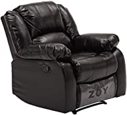 Zoy Leather/Cotton/Plywood Bear Recliner, R9393B-51 H048, Black, H97 x W94 x D99 cm