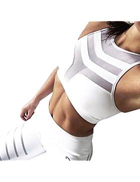 sujetadores push up, sujetadores tallas grandes deportivos fitness sport de malla y patch Mujer Tank de entrenamiento...