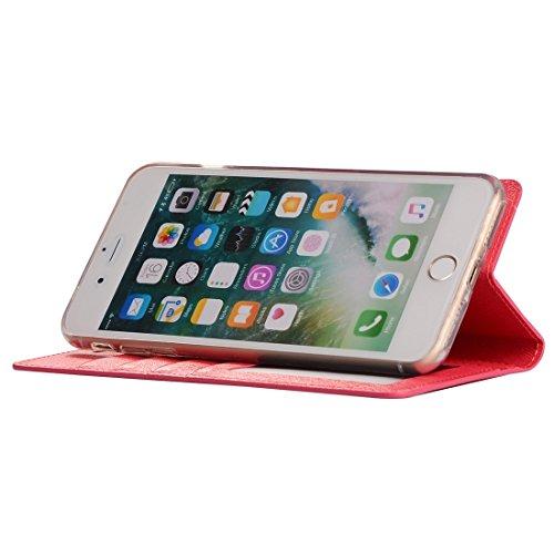 GHC Cases & Covers, Für iPhone 7 Plus Silk Texture Horizontale Flip Leder Tasche mit Geldbörse & Halter & Card Slot & Foto Frame ( Color : Magenta ) Magenta