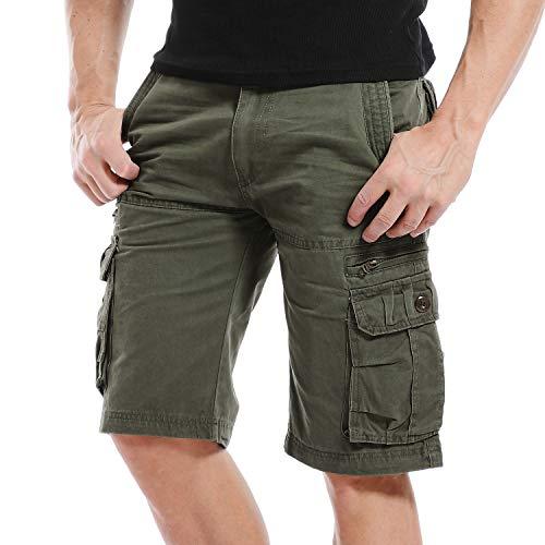 Multi-pocket Hose (Yidarton Cargo Shorts Herren Kurze Hosen Outdoor Casual Cargo Bermudas Sommer Unifarben/Camouflage (ohne Gürtel) (Style1-Light Army Green, EU 42))