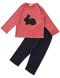 FUNKRAFTS Kids Full Sleeves Pink/Navy Blue Bunny Rabbit Print Night Suit