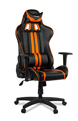 Arozzi Medio Silla Gaming, Piel sintética, Negro Naranja, 70x 60x 90cm, 5Unidad