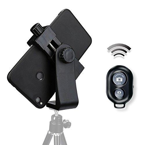 AFAITH Adattatore di montaggio del treppiedi del telefono delle cellule universali di, supporto del supporto dello Smartphone per iPhone 7 7plus 6 6s 5 5s, Samsung, Huawei P9 ondulazione 8 e più telefoni, nero di morsetto regolabile monopiede di Selfie, include il telecomando di otturatore di Bluetooth di Bonus - PA074