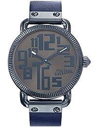 Reloj hombre–Jean Paul Gaultier–Index–acero PVD azul–Pulsera cuero negro–45mm–8504406