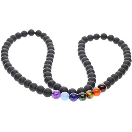 7 Chakra Achatperlen Geschliffener Onyx Tibetische Halskette für Damen/Herren