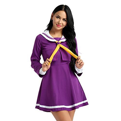Alvivi Damen&Mädchen Shulmädchen Uniform Anzug Japanische Matrose Kostüm Set für Halloween Karneval Fasching Party Cosplay Kleid Lila L (Japanische Schulmädchen Matrose Uniform Cosplay Kostüm)