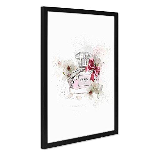 PHOTOLINI Design-Poster mit Bilderrahmen Schwarz 'Parfüm Paris' 30x40 cm Kunstbild Fashion Mode Abstrakt (Paris Fashion Parfüm)