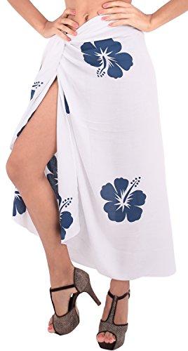 La Leela jupe rayonne lisse couvrir caribbean hibiscus sarong 62x43 pouces bleu