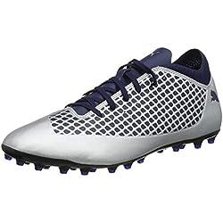 Puma Future 2.4 MG, Zapatillas de Fútbol para Hombre, Plateado Silver-Peacoat 04, 42.5 EU