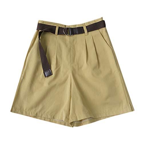 Perlen Baumwolle Shorts (XZDCDJ Shorts Damen Hose kurzen Sommer high Waist hot Hose Mode Sexy High Waist Shorts Perlen Casual locker Shorts Mit Gürtel (Gelb,L))