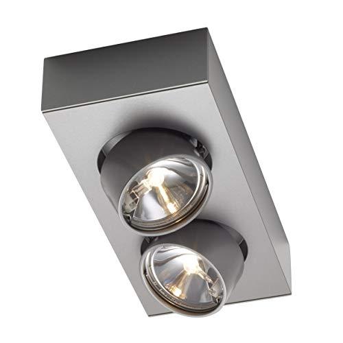 Wittenberg wi-ab-125-2e 2er-Strahler, grau metallic DB702 pulverbeschichtet LxBxH 27,5x13,1x5cm Abstrahlwinkel 15° elektronischer Trafo Konverter -