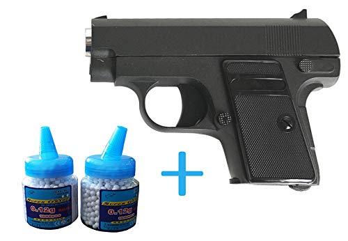 ll Mini Pocket Softair (Manuell Federdruck), Maßstab 1:1,8, Gewicht 305g, 6mm Kaliber, Farbe: Schwarz, inkl. 2000 0,12g BB Kugeln ()
