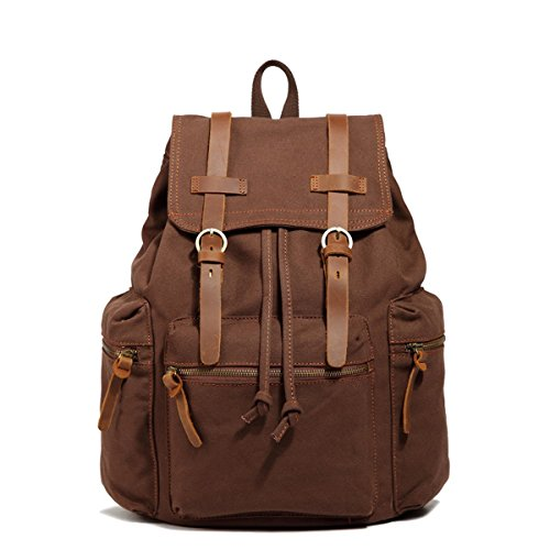 sulandy@ Multi-Function Vintage Canvas Leather Hiking Travel Military Backpack Messenger Tote Bag for women and men khaki green coffee 41n 4up933L
