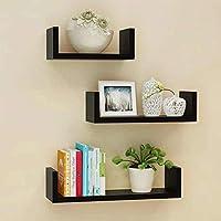 Dream Shop Wall Shelf/Rack/Shelves for Living Room Book Shelf for Home Set of 3 Black
