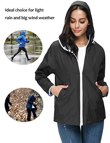 ZHENWEI Regenjacke Damen Wasserdicht Outdoorjacke Regenmantel Schwarz Softshelljacken Walk Kapuzenjacke Streetwear - 6