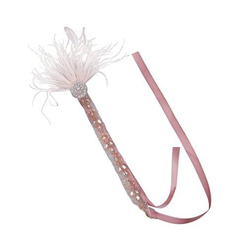 Flapper Pink Baby Kostüm - Fenteer Haarschmuck Haarband Kopfschmuck 20er Kostüm Flappers Kopfstück Tiara Stirnband - Baby Pink