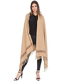 Châle 'Takhi' tissé à la main en laine mérinos 100 x 200cm camel