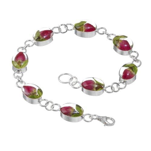 Shrieking Violet: Damen-Armband - mini Rosenblüte - oval - 925 Sterling Silber - 180 mm (Längliche Ring Silber)